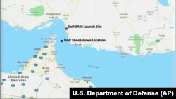 A U.S. map shows the site where it says a drone was flying when shot down by Iran on June 20.