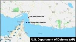 Harta furnizată de Departmentul Apărării de la Washington pe 20 iunie 2019 pentru a arăta unde a fost doborâtă drona americană de către forțele militare iraniene