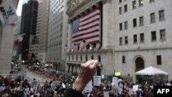 Одна из акций протеста на Уолл-стрит в Нью-Йорке.