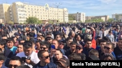 Kazakh youth at the protest rally against the sale of land to foreigners on April 24.
