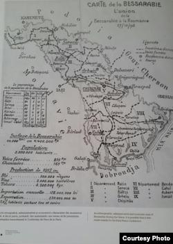Harta Basarabiei la momentul Unirii (Foto: Basarabia în actul Marii Uniri de la 1918, Chișinău: Știința, 2017)