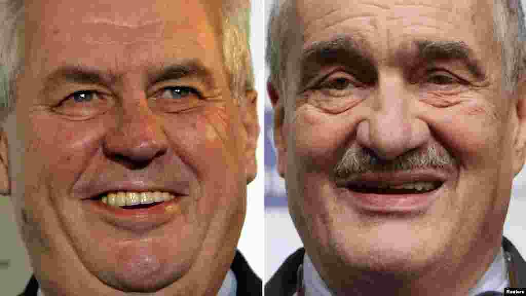 Miloš Zeman (fost comunist, stînga, inimagine) și Karel Schwarzenberg (aristocrat și fost dizident) au intrat în al doilea tur al alegerilor prezidențiale din Cehia, care au loc pe 25-26 ianuarie.