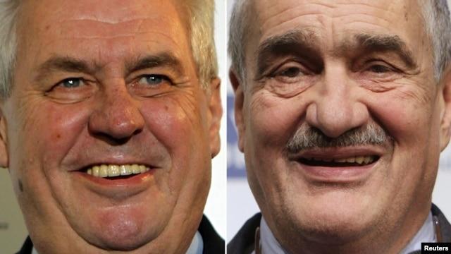 Former Prime Minister Milos Zeman (left) goes head-to-head with Foreign MInister Karel Schwarzenberg.