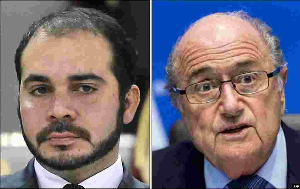 ФИФА президенті сайлауына түсіп жатқан кандидаттар - Йозеф Блаттер (оң жақта) және Иордания ханзадасы Али бин Әл-Хусейн.