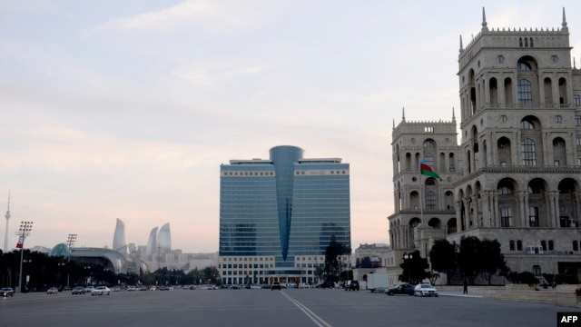 Azerbaijan -- A partial view of the House of the Government (R) in the capital Baku, May 10, 2014