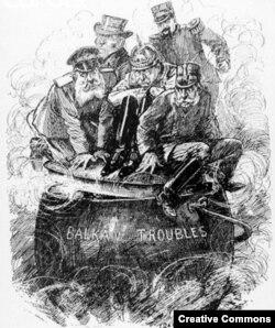 Лидеры великих держав и кипящий балканский котел. Карикатура из журнала Punch, 1913