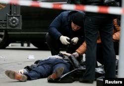 Место убийства Дениса Вороненкова в Киеве. 23 марта 2017 года