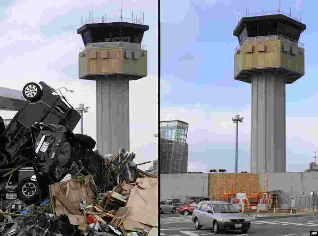 On the left, cars piled up in front of the airport control tower in Sendai on March 14, 2011, and on the right, the same area on January 12, 2012