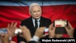 Ярослав Качински в нощта на изборите