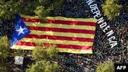 Марш за незалежнасьць Каталёніі ў Барсэлёне