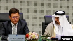 Russian Energy Minister Aleksandr Novak and Saudi ArabianEnergy Minister and OPEC conference president Khalid al-Falih attend a meeting of the Organization of the Petroleum Exporting Countries (OPEC) and non-OPEC producing countries in Vienna,