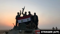 Syrian forces gestures as they carry the national flag in the village of Suway'iah, near the Syrian border town of Albu Kamal, on November 9, 2017. File photo