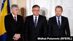 Predsjedništvo Bosne i Hercegovine: Dragan Čović (lijevo), Mladen Ivanić (u sredini) i Bakir Izetbegović (desno)