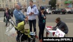 Пікет па зборы подпісаў за Вольгу Дамаскіну 11 ліпеня