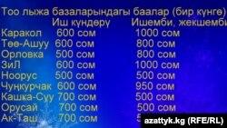 Кыргызстандын жөө жүрүүчүлөр союзунун аткаруучу директору Марат Даниловдун маалыматы боюнча тоо лыжа базаларындагы баалар. 7-январь, 2015-ж.