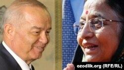 O'zbekiston prezidenti Islom Karimov va Hindiston prezidenti Pratibha Patil (fotokollaj).