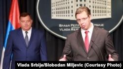 Aleksandar Vuçiq (djathtas) dhe Milliorad Dodik