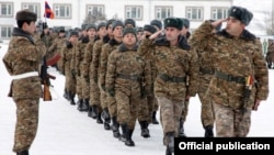 Armenia -- Soldiers march at a military unit.