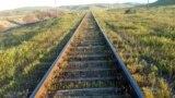 Turkmenistan. Railroad Ashgabat - Serhetabat. Field. Green grass. April 10, 2015