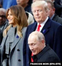 Дональд Трамп, Мелания Трамп и Владимир Путин, Франция, ноябрь 2018 года