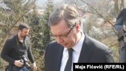 Aleksandar Vučić tokom posete Kosovu, 3. april 2016.