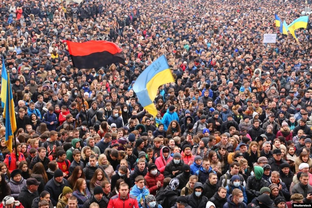 Мітинг проти агресії Росії і за європейську інтеграцію України. Івано-Франківськ, 25 лютого 2014 року