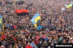 Мітинг проти агресії Росії і за європейську інтеграцію. Івано-Франківськ, 25 лютого 2014 року (ілюстраційне фото)