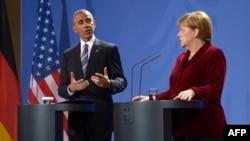 Barack Obama dhe Angela Merkel gjatë konferencës së sotme për gazetarë në Berlin