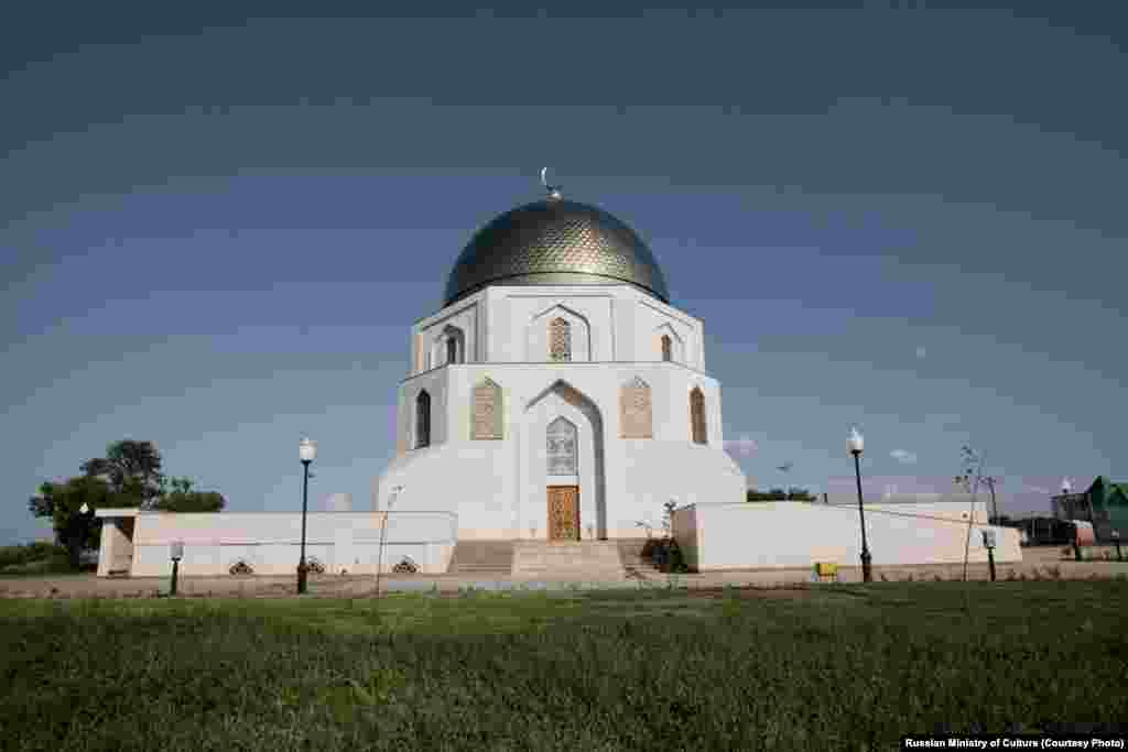 A three-storied octagon resembling a mosque is a commemorative sign unveiled on the bank of the Volga river to mark the adoption of Islam by Volga Bolgars.