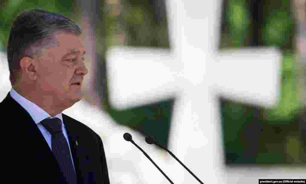 """UKRAINE – President of Ukraine Petro Poroshenko during the ceremony commemorating the victims of political repressions on the territory of the National Historical and Memorial Preserve """"Bykivnia graves"""". Bykivnia, May 19, 2019"""