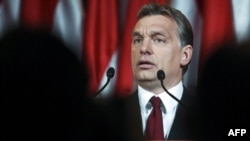 Prime Minister-elect Viktor Orban delivers his victory speech on April 25.