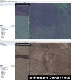 Фота расейска-ўкраінскай мяжы з агульнадаступнага Google Earth у 2013 і 2014 годзе