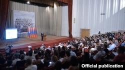 Armenia - President Serzh Sarkisian addresses a conference of the International Association of Genocide Scholars, Yerevan, 8Jul2015.