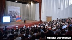 Armenia - President Serzh Sarkisian addresses a conference of the International Association of Genocide Scholars, Yerevan, 8Jul2015.