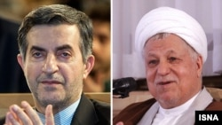 Two prominent disqualifications: the former head of Iran's presidential office, Esfandiar Rahim Mashaei (left), and former President Ali Akbar Hashemi Rafsanjani