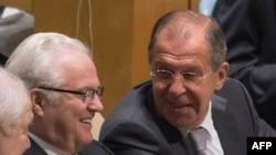 Виталий Чуркин и Сергей Лавров на открытии 71-й сессии Генассамблеи ООН. 20 сентября