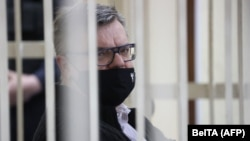 Opposition politician and banker Viktar Babaryka appears in court in Minsk in February.