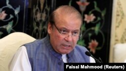 Nawaz Sharif, former prime minister and leader of the Pakistan Muslim League-Nawaz (PML-N), addresses a news conference in Islamabad on May 23.