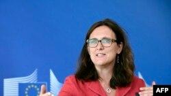 Comisarul european Cecilia Malmström la Bruxelles