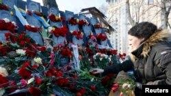 Возложение цветов в центре Киева