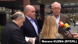 Григорий Карасин (второй слева) и Зураб Абашидзе во время встречи в Праге (архив)