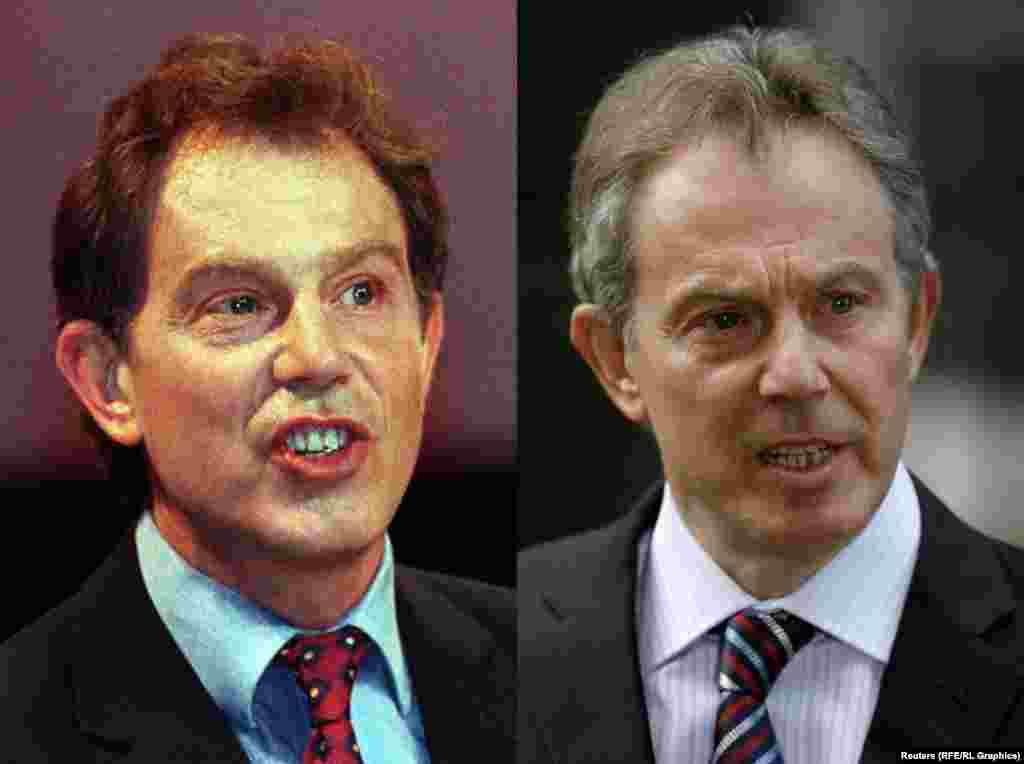 Бывший премьер-министр Великобритании Тони Блэр в 1997-м (слева) и в 2007-м году.