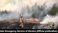 Гасіння лісової пожежі в Житомирській області, квітень 2020 року (фото Державної служби України з надзвичайних ситуацій)