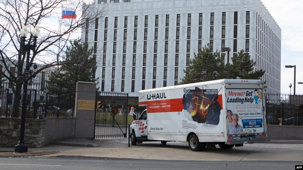 U.S. -- A moving truck enters the Russian Embassy in Washington, December 31, 2016