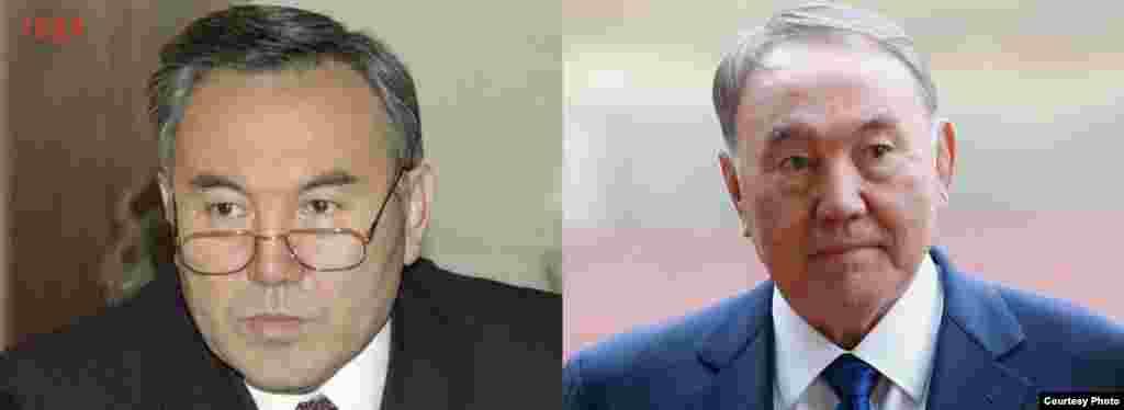 Қазақстан президенті Нұрсұлтан Назарбаевтың 1991 жылғы (сол жақта) және 2015 жылғы фотографиялары.