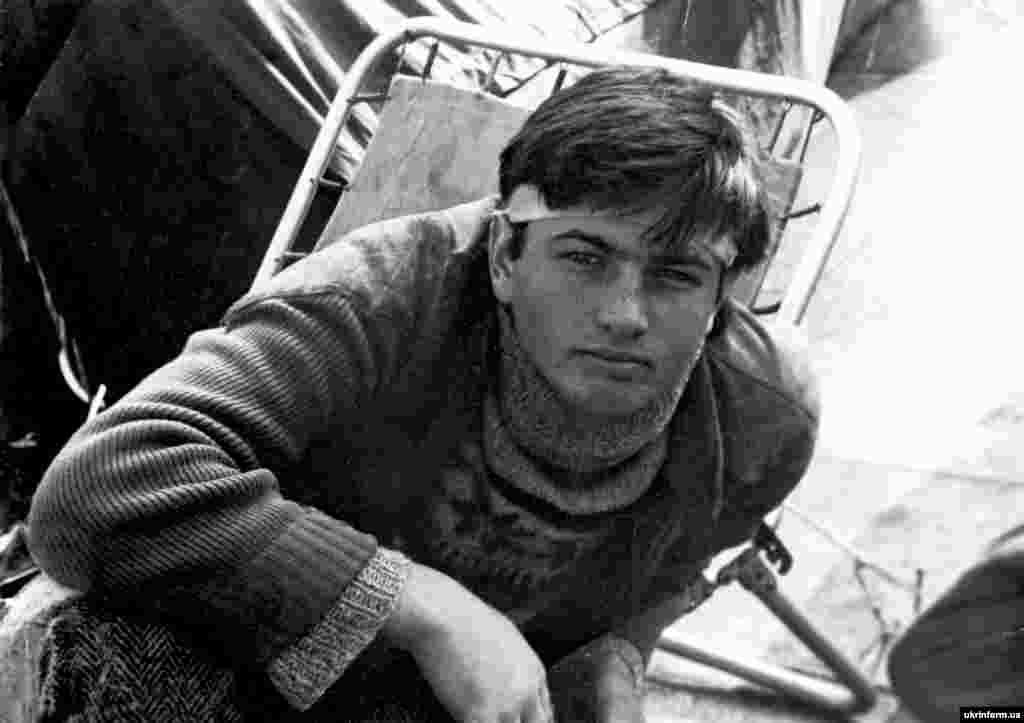 Студент Андрій Черненко під час Революції на граніті