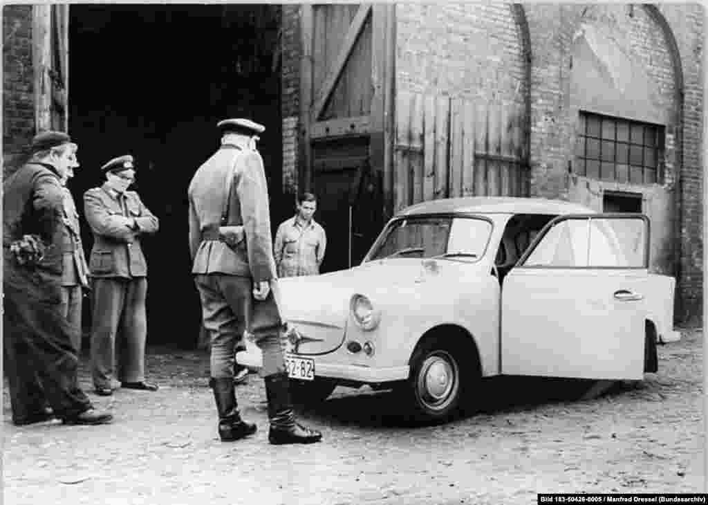"Once communist authorities green-lighted the design, mass production of the Trabant (which means ""companion"") began in 1957."