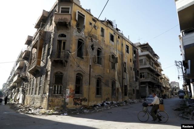 Сирийский город Хомс после боев с участием российских самолетов. Март 2016 года