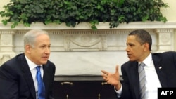 U.S. -- President Barak Obama (R) meets with Israeli Prime Minister Benjamin Netanyahu in Washington, DC, 18May2009