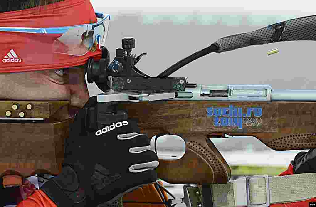 Russian biathlete Yevgeny Garanichev in action during the men's 20 kilometer individual competition at the Laura Cross Biathlon Center.